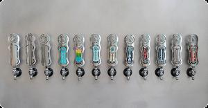 a collection of ninkasi tap handles
