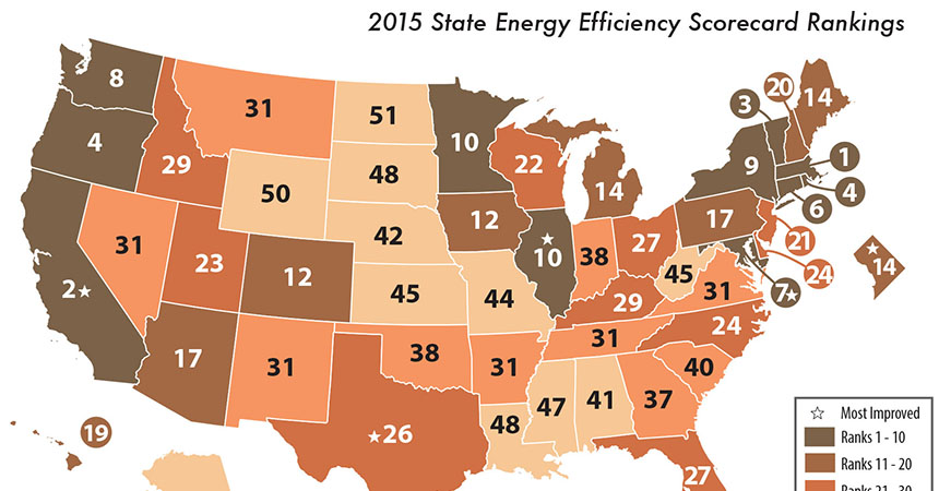 a map of the united states, showing oregon as the 4th most energy efficient state in 2015