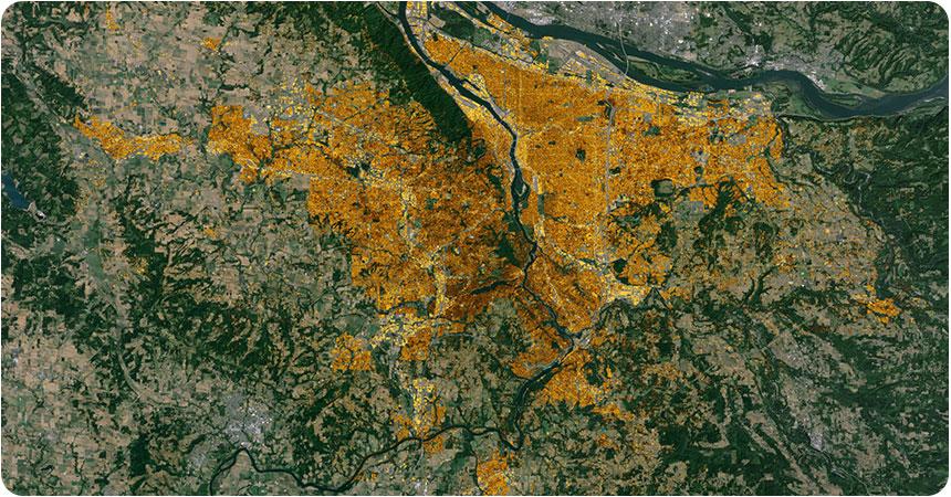 a satellite image of the portland metro area