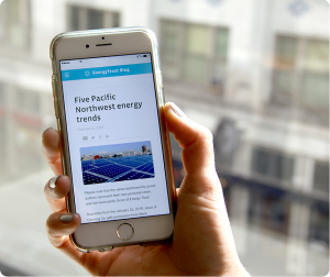 a closeup of a hand holding a smartphone with the energy trust blog on the screen