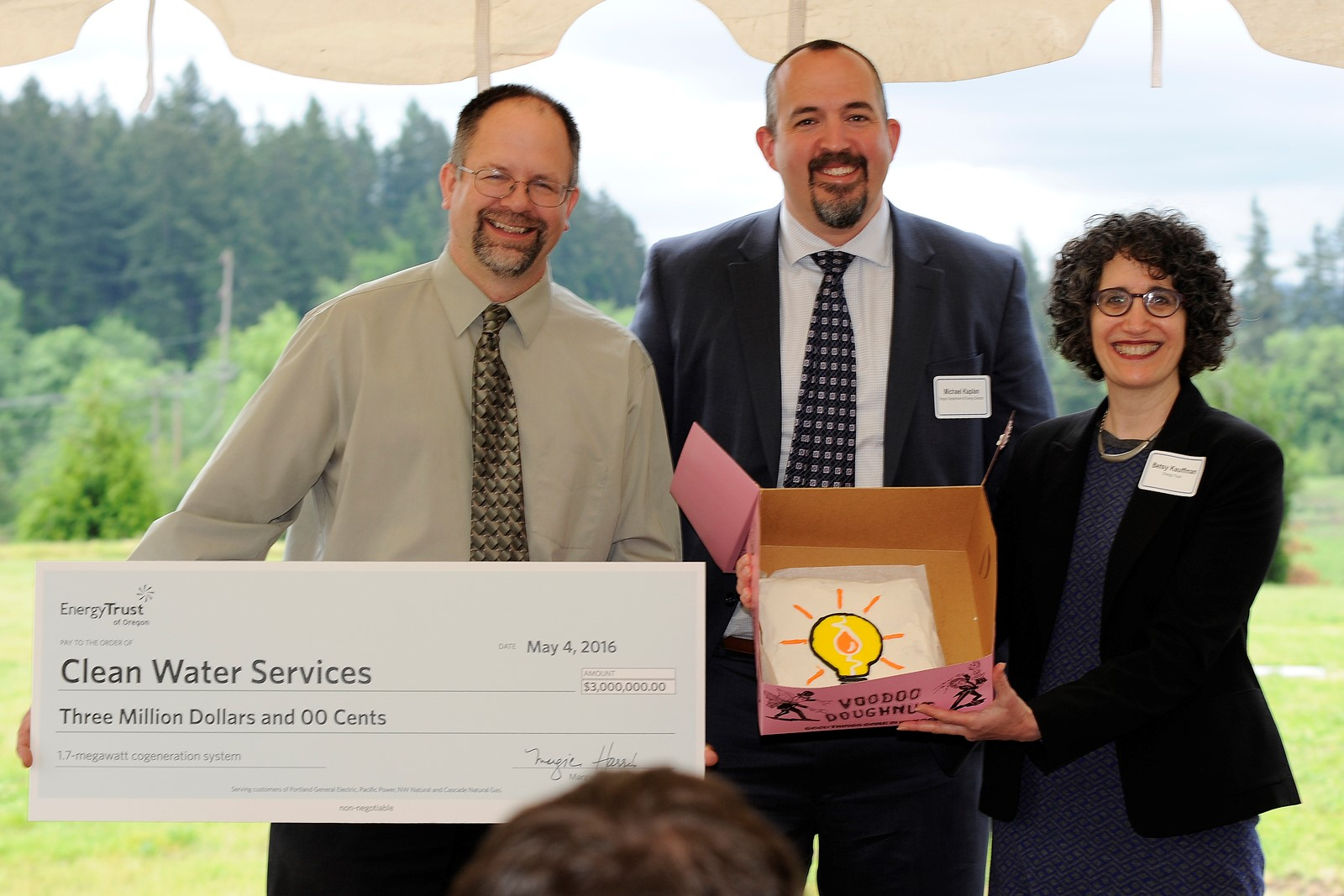 Pictured (left to right): Chair Andy Duyck, Clean Water Services/Washington County; Michael Kaplan, Oregon Department of Energy; and Betsy Kaufmann, Energy Trust of Oregon