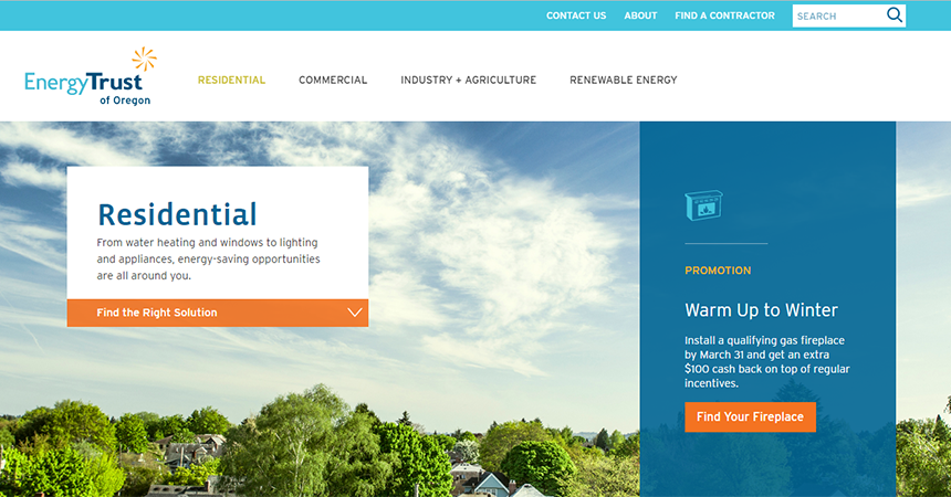 a screenshot of the residential web page from the energy trust website