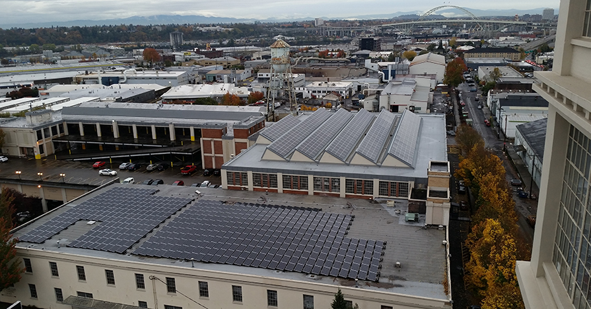 aerial view of Mongomery Park building with solar panel array