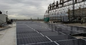 the roof of Mongomery Park building with solar panel array