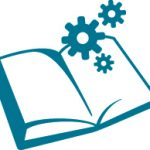 an icon of an open book with gears