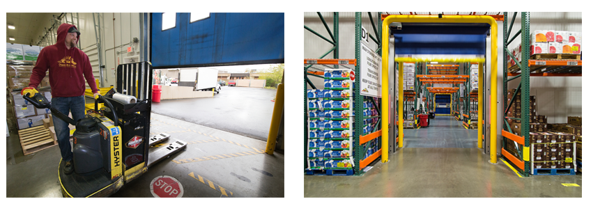 Two photos: one shows male worker with a small forklift; the other shows the inside of the Organically Grown warehouse