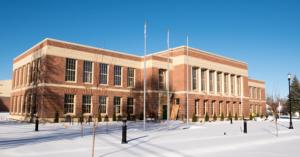 Redmond City Hall exterior on a bright, snowy day