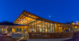 Exterior view of the education center at the Oregon zoo at dusk
