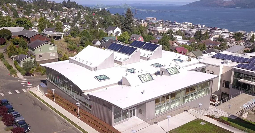 aerial view of Patirot Hall at Clatsop Community College