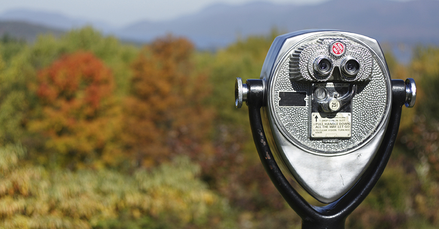 view finder overlooking fall foliage