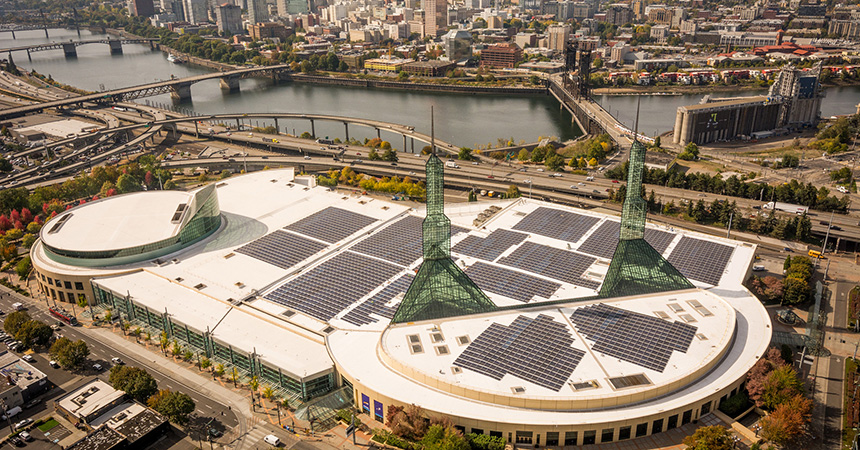oregon convention center aerial view with solar panels