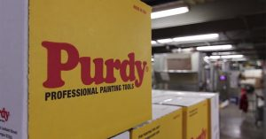 Close-up of Purdy Professional Painting Tools box in their facility