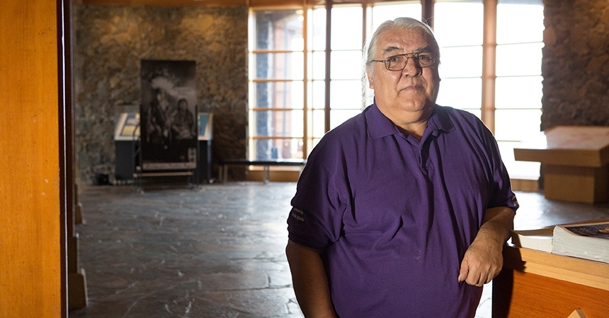 a man standing in the newly renovated nonprofit interpretive center for the Tamástslikt Cultural Institute in Pendleton, Oregon