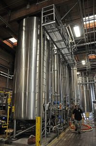 large stainless steel tanks in an Widmer's brewing facility