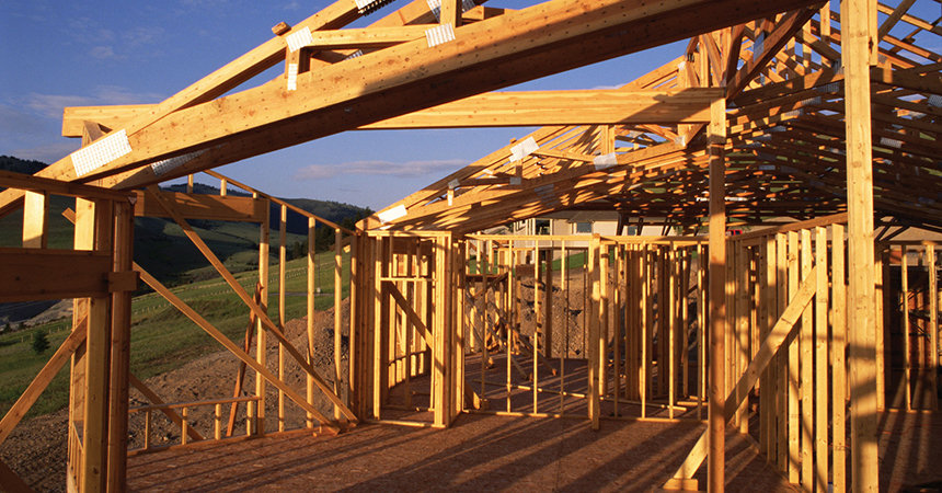 the frame of a house under construction