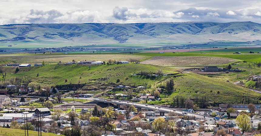a picture of Pendleton, Oregon on a sunny day