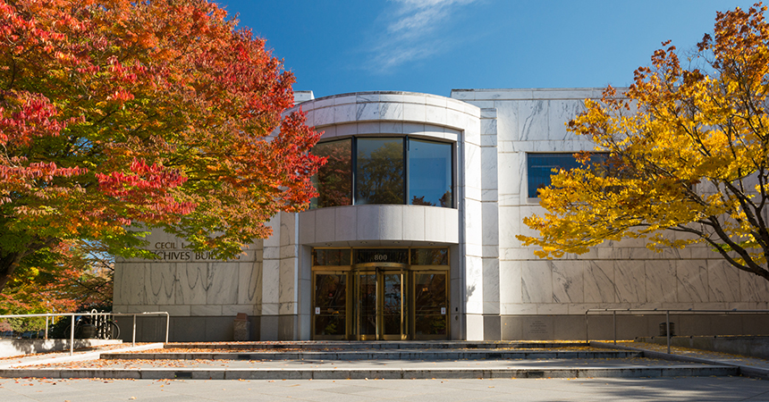Fall colors at the State Archives Building on the Capitol Mall in Salem.