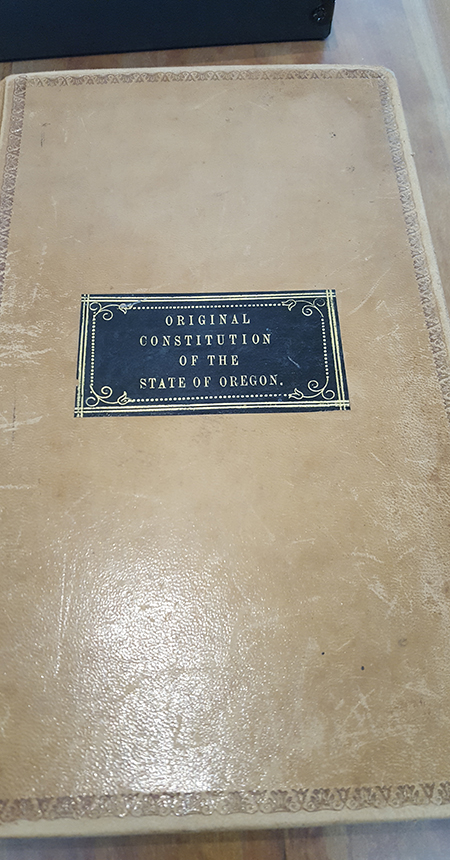 Original State of Oregon Constitution, photo courtesy of the Oregon Department of Administrative Services