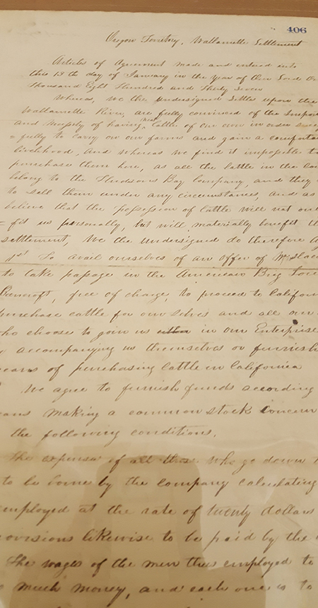 1837 petition to start Willamette Cattle Company, photo courtesy of the Oregon Department of Administrative Services