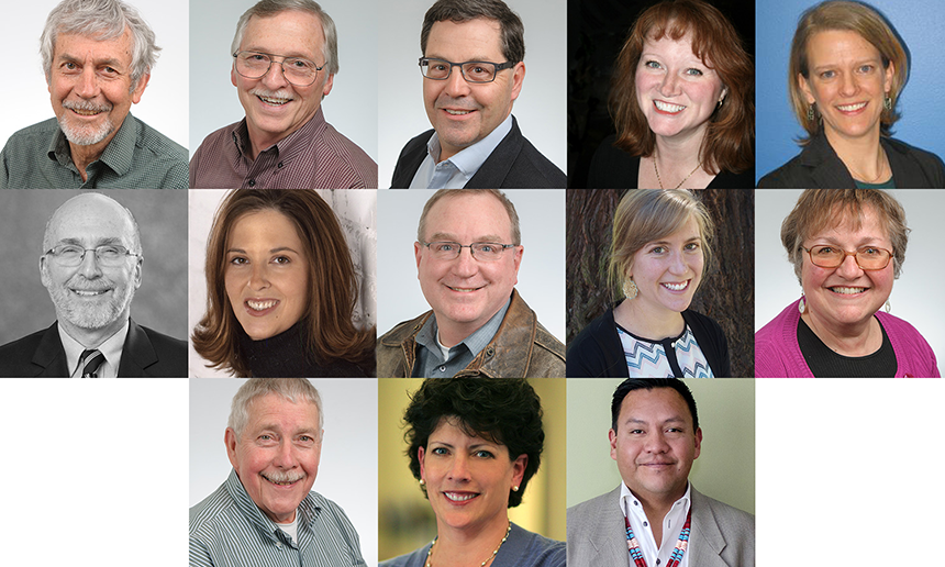 a group of Energy Trust Board Members; Roger Hamilton, Alan Meyer, Mark Kendall, Susan Brodahl, Janine Benner, Stephen Bloom, Melissa Cribbins, Dan Enloe, Lindsey Hardy, Debbie Kitchin, John Reynolds, Anne Haworth Root, Eddie Sherman