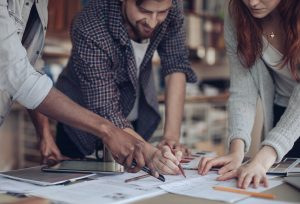 Close up of a designers working on a project