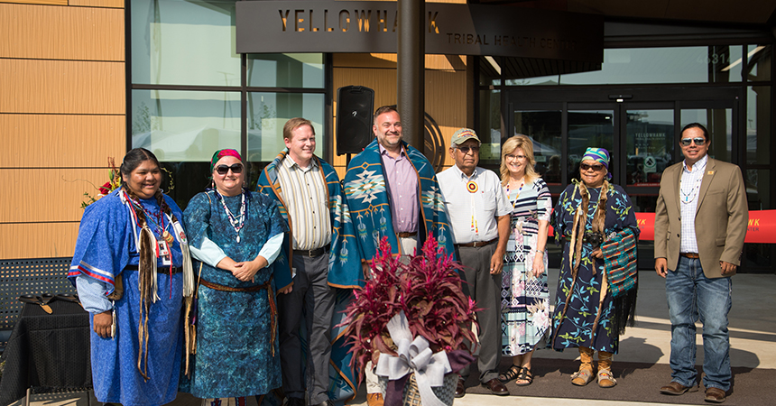 energy trust and members of the Confederated Tribes of Umatilla Indian Reservation celebrating the opening of the Yellowhawk Tribal Health Center