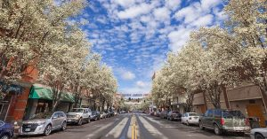 a downtown Pendleton street on a sunny spring day