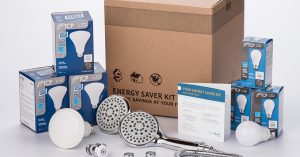 an energy saver kit box, with led lightbulbs, faucet aerator, and efficient shower head.