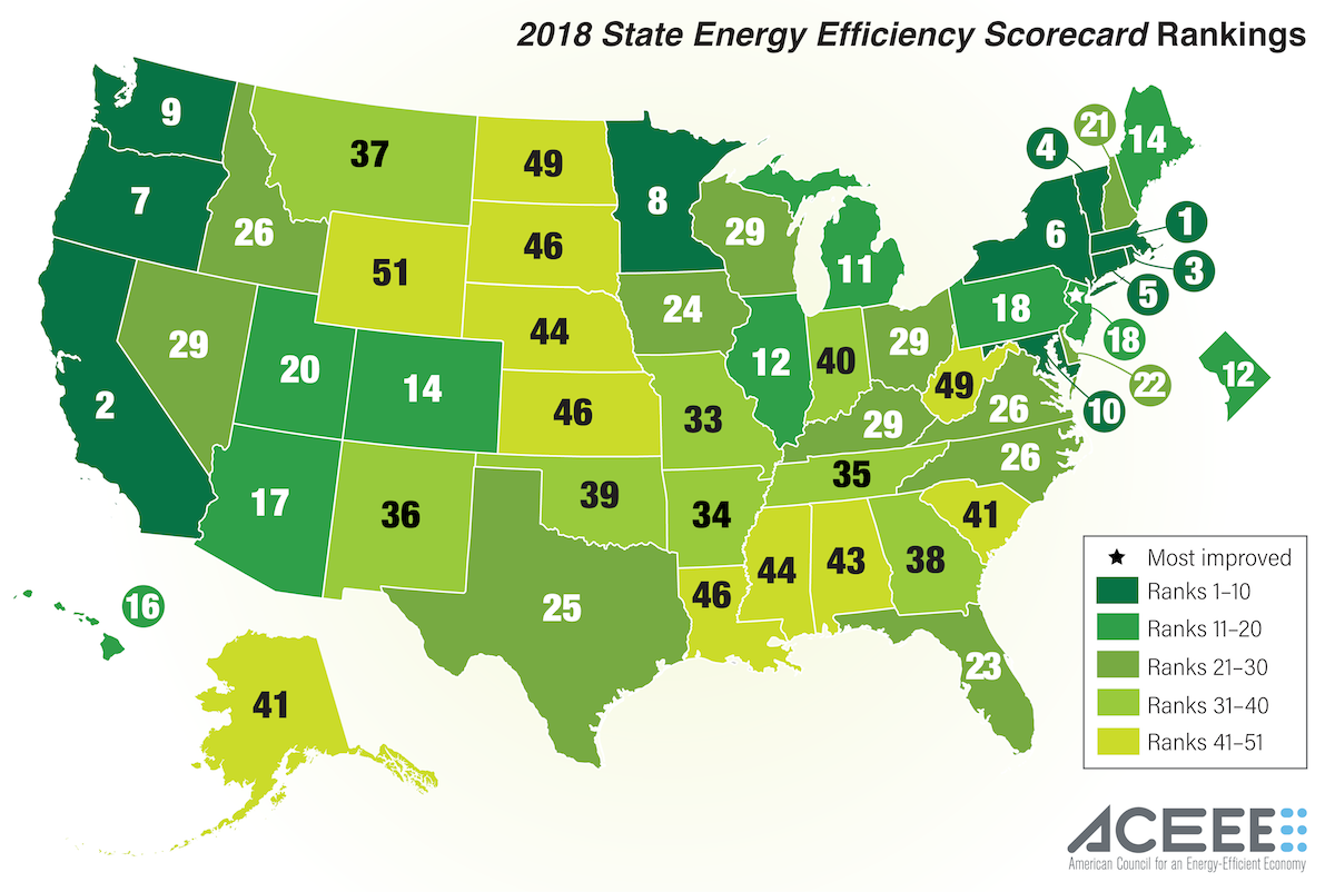 a map of the USA showing which states are most energy efficient. Oregon ranks 7th