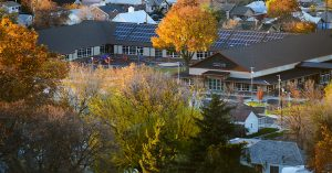 an arial view of a Pendleton school in the fall