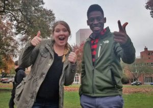 Mariah Wills and Chris Crockett, both from the renewable energy engineering program at Oregon Institute of Technology