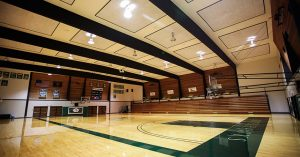 Energy-efficient lighting in the gymnasium at Umpqua Community College.
