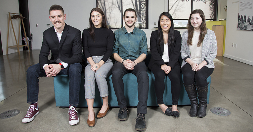 The 2019 intern class includes Matt Loudermilk, Carleton Hart Architecture; Madelaine Murray, Hennebery Eddy; Lindsay Naganuma, Holst Architecture; Austin Daich, Speranza Architecture, and Jessica Meylor, OTAK