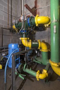 Heat exchanger and pumps at 1000 SW Broadway building, Portland, OR.