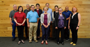 Left to right: (first row) Elee Jen; Mark Kendall; Janine Benner; Debbie Kitchin; Susan Brodahl; (second row) Alan Meyer; Roger Hamilton; Anne Haworth Root; Roland Risser; Letha Tawney, Oregon Public Utility Commissioner; and Eric Hayes.