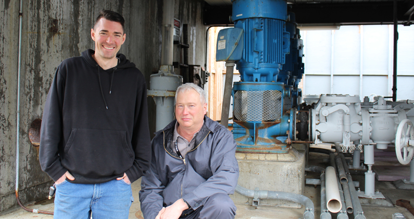 Bob Esch, energy champion (right) and James Green, data master (left). Photo courtesy of City of Corvallis.
