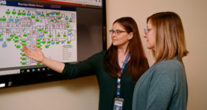 Camas School District operations administrator, Jessica Beehner, reviews the status of Skyridge Middle School's CO2 sensors via direct digital controls with colleague, Bridget Flanagan at the Zellerbach Administration Center.