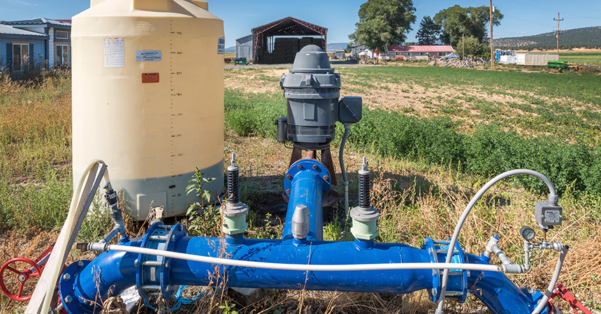 Irrigation equipment in a field.