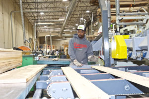 Man sawing lumber in factory