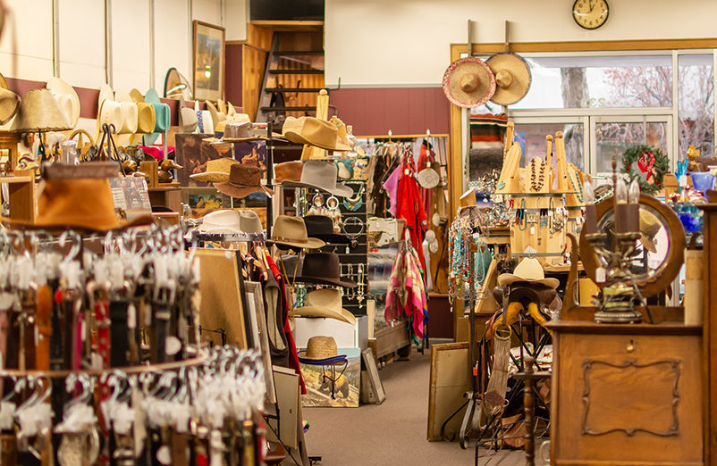 a store full of well lit western gear