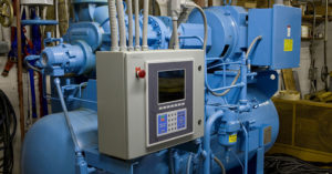 blue mechanical equipment