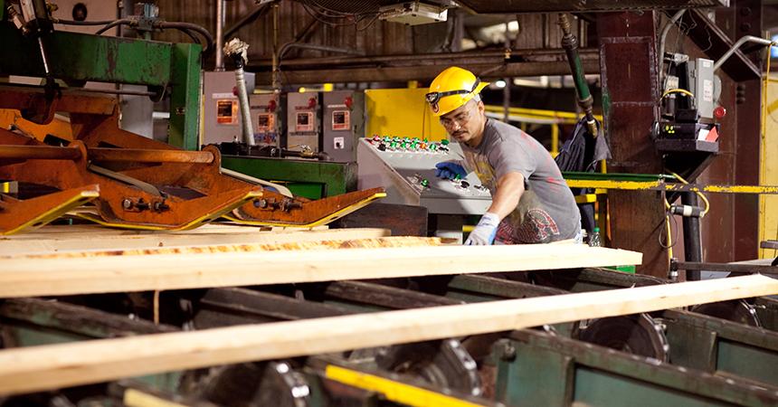 A man in a hard hat working on lumbar in a lumberyard