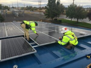 Workings installing solar