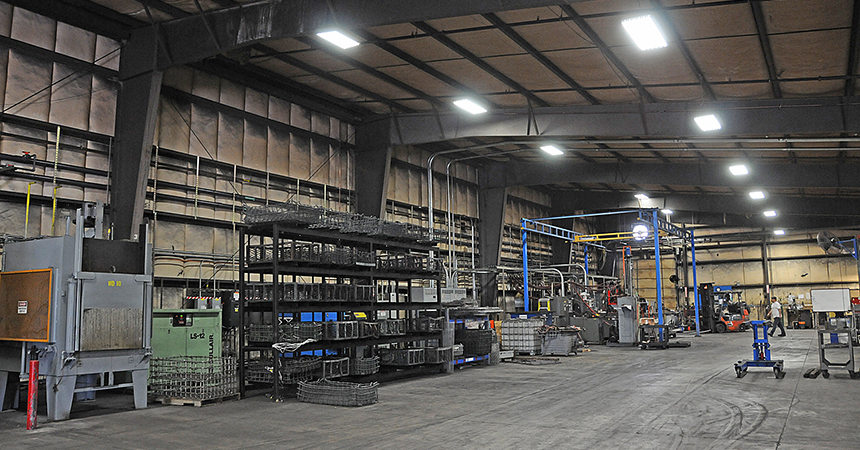 the inside of a warehouse with led lighting