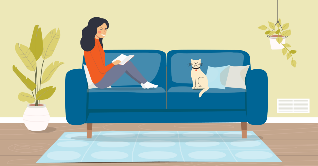 an illustration of a woman sitting on couch with a cat