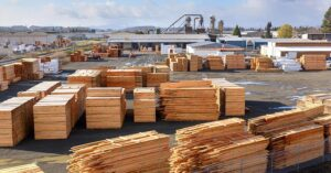 a lumberyard full of processed wood