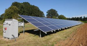 a solar panel system in a field