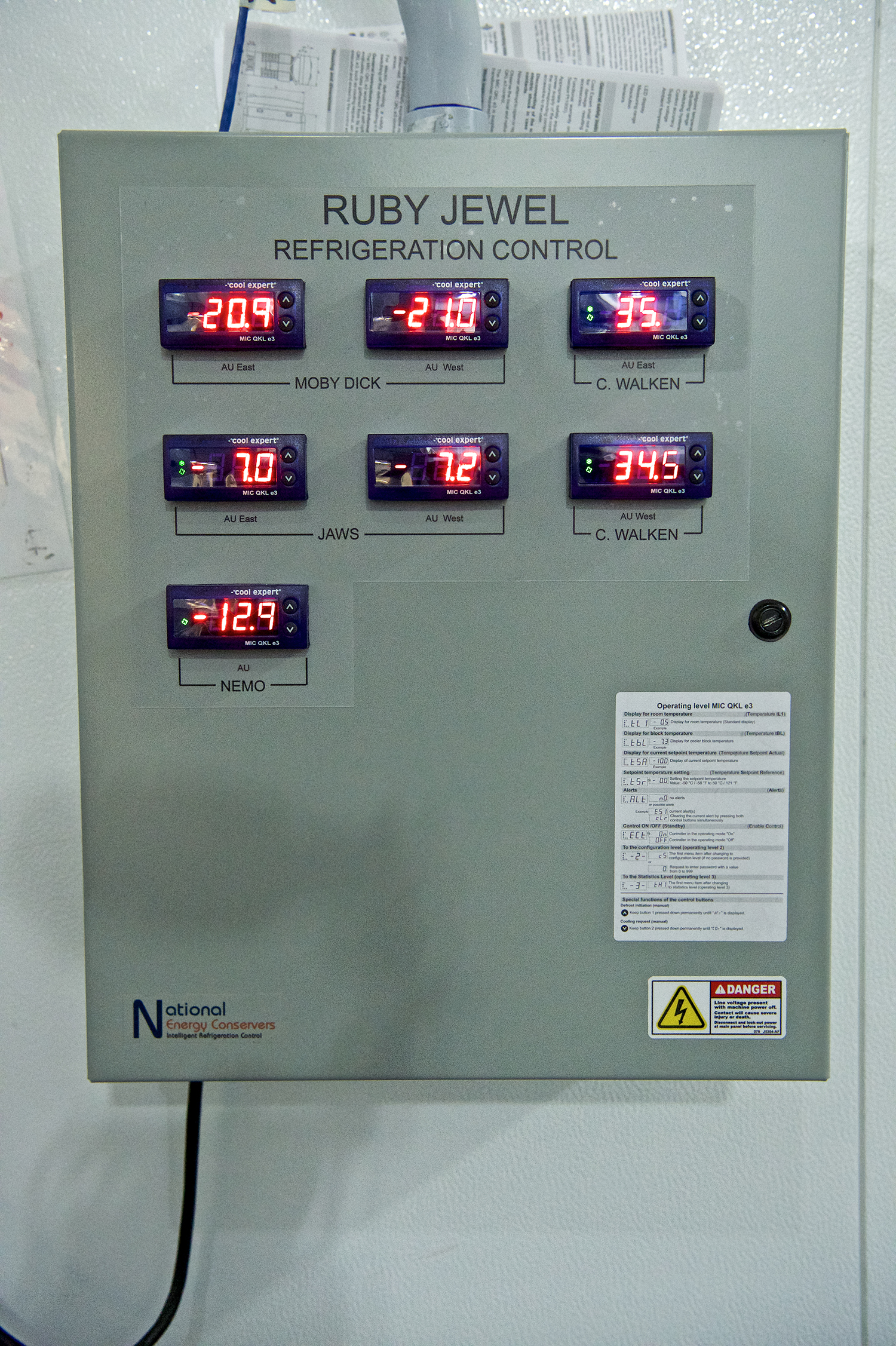 a control panel for the refrigeration control